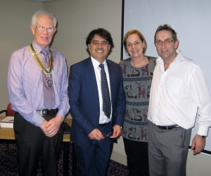 Asad Syed  welcomed by  President Barry James, Janet and Ian Wilson.