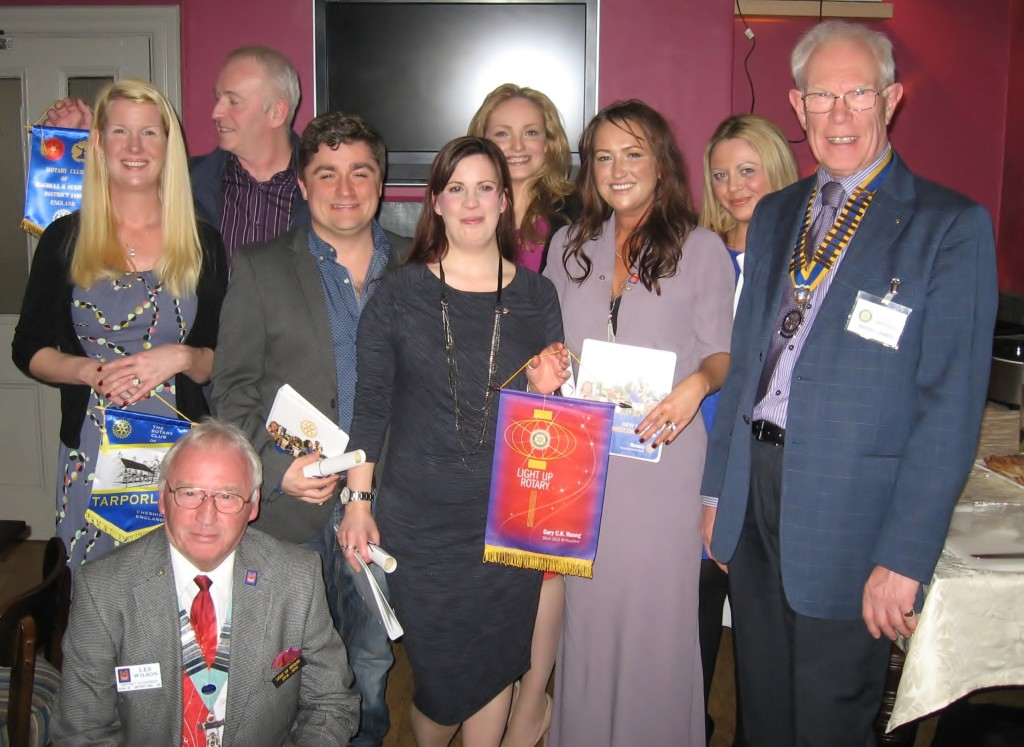 New Rotary Satellite Club Members with Rotary District 1180 Govenor Les Wilson (at front) and President of the Rotary Club of Chester Deva Barry James