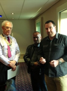 President Barry and VP Tyrone introduce Simon Groom as a new Rotarian  to Club Members.