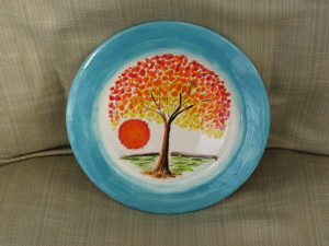 Malcolm's plate came out very well after glazing and firing..