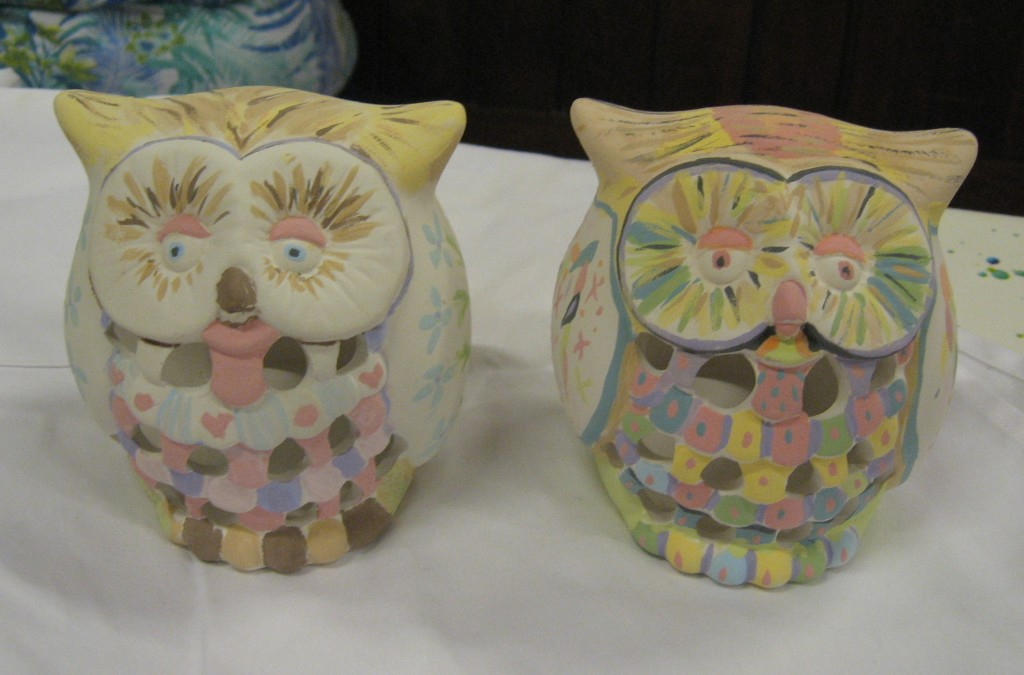 Glenys & Marilyn Paint Owls. I think the night was a bit of a HOOT!