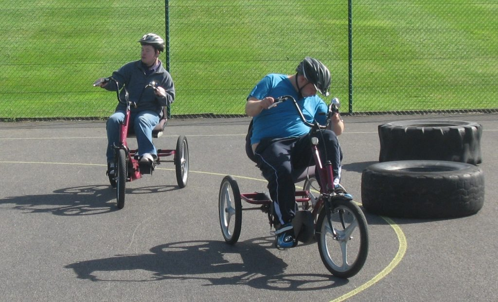Cycling on special adapted cycles.