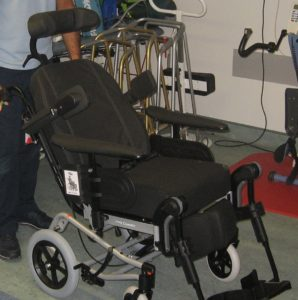 Special Wheelchair has adjustments to assist mobility in the therapy of Stroke patients.