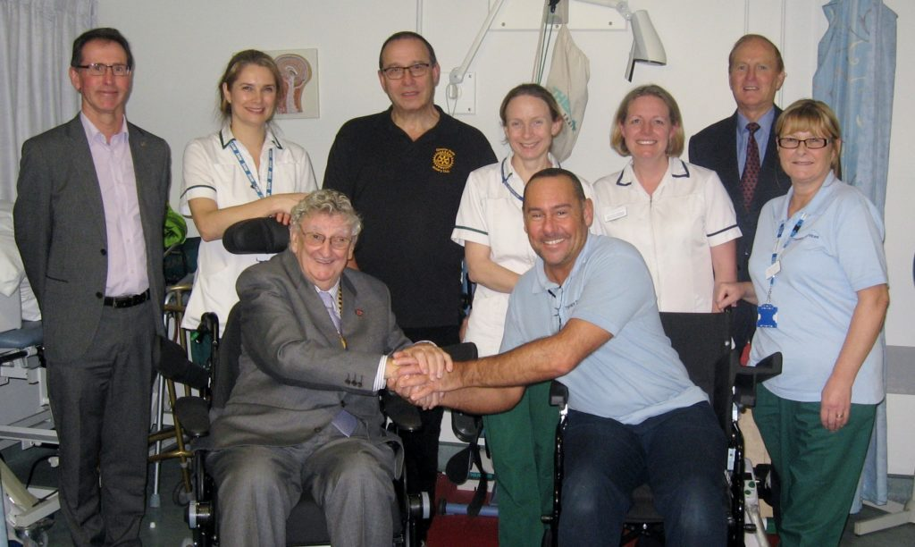 Countess Of Chester Hospital Stroke Unit staff pleased to recieve Two Special Wheelchairs from Chester Deva Rotary.